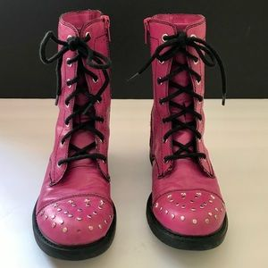 SKECHERS Twinkle Toes Pink Combat Boots